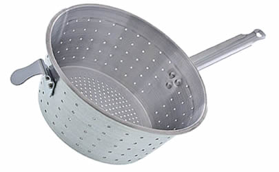 An aluminum pan strainer, a front hook and sparse openings.