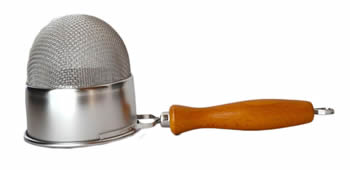 A double mesh deep strainer with a wood handle