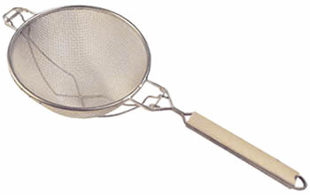 A double mesh strainer, with backed thick reinforcing wires crossed and a wood handle, two hanging hooks.