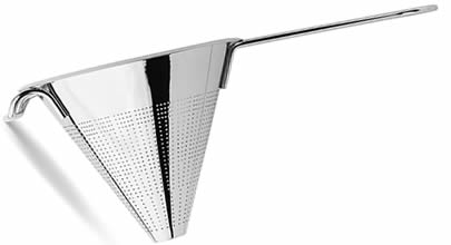 A conical stainless perforated strainer with fine perforation, flat bottom.
