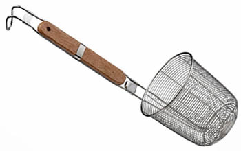 A strainer with spiderweb mesh and wood handle, with a hanging hook.
